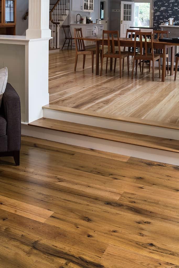 reclaimed oak flooring installed in living room and dining room