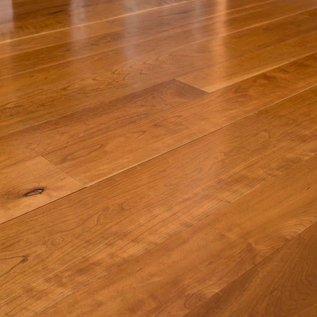 cherry wide plank flooring detail