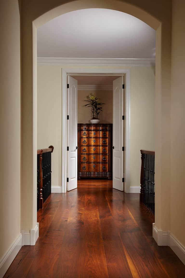 beautiful hallway with rich walnut wide plank floors