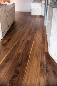 walnut flooring used in kitchen