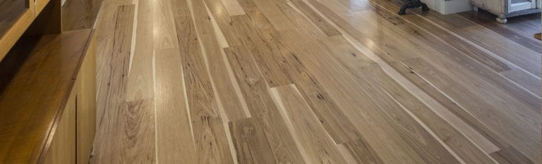 wide plank hickory floor in kitchen cropped