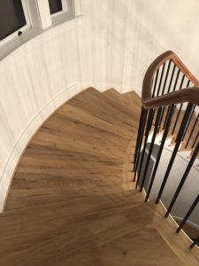 wide plank flooring stair case
