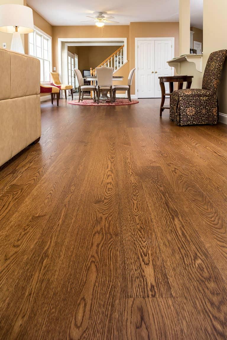 wide plank white oak in living room
