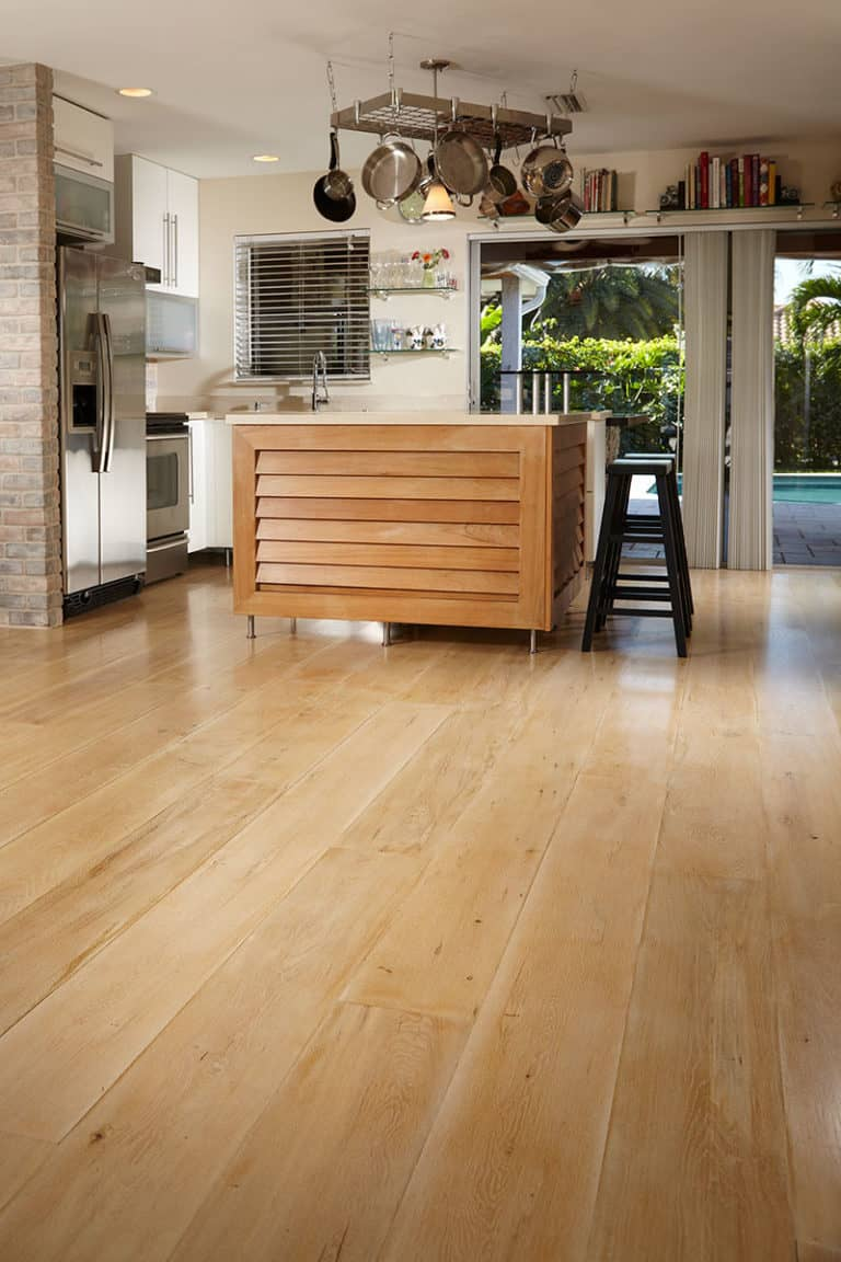 wide plank flooring white oak in kitchen prep area