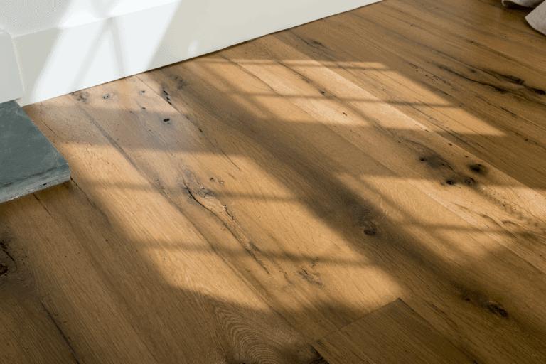 antique oak wide plank flooring detial shot