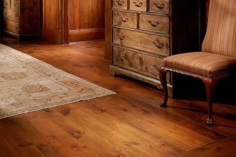 Chair on wide plank flooring