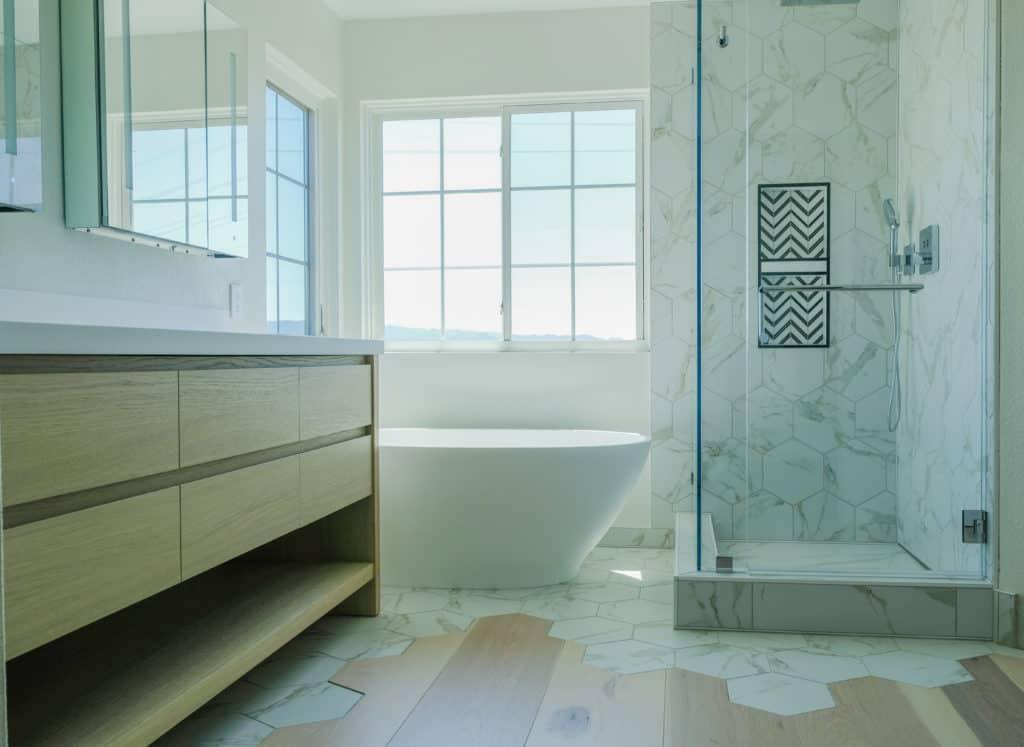 Hardwood and tile in bathroom
