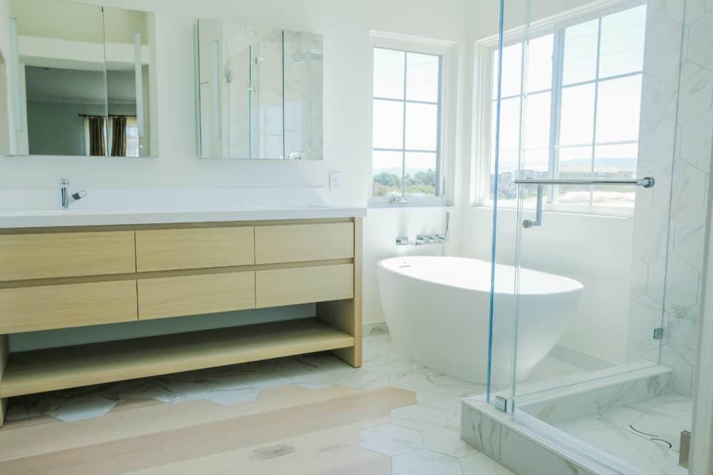 hardwood and tile used in bathroom