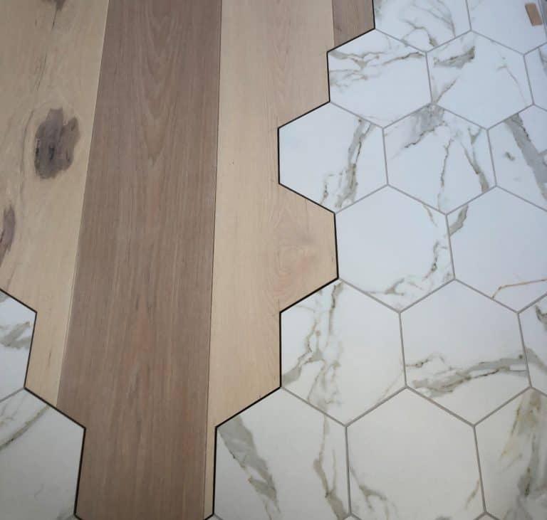 hexagon tile meets hardwood