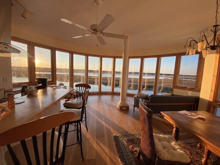 new flooring in living room overlooking water