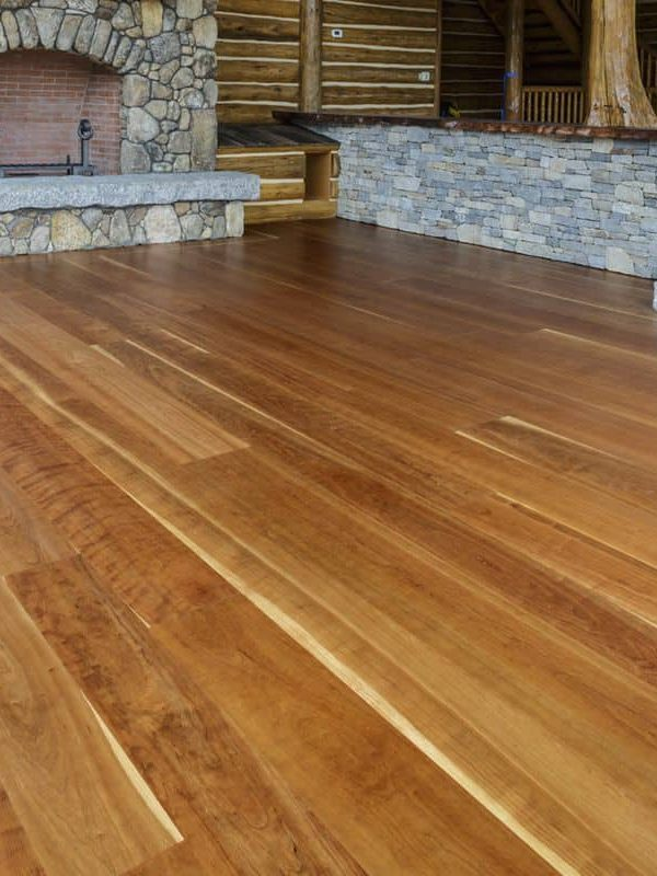 cherry wide plank flooring installed in the bartlett house
