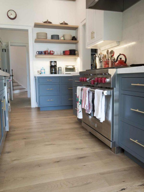 beautiful country white oak wide plank floor in kitchen