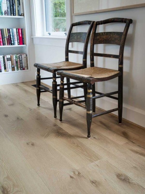 country white oak wide plank flooring with two chairs