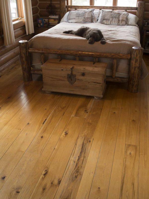 Hickory wide plank floor in bedroom