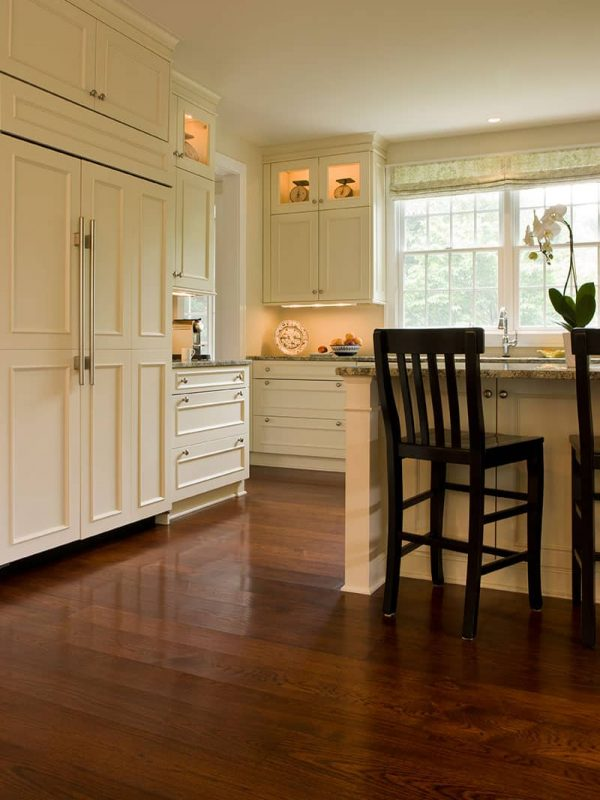hickory wide plank flooring in kitchen