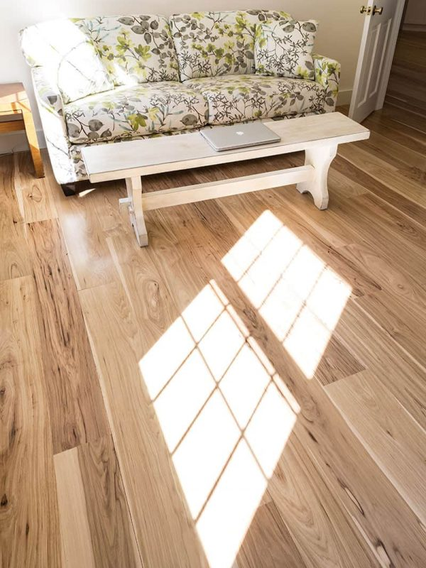 hickory wide plank flooring seating area