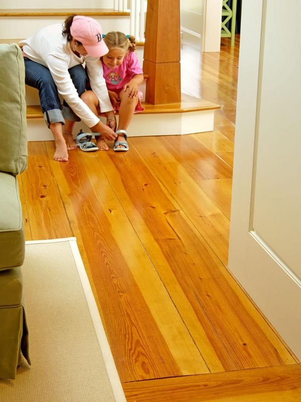 heart pine wide plank flooring mother and daughter