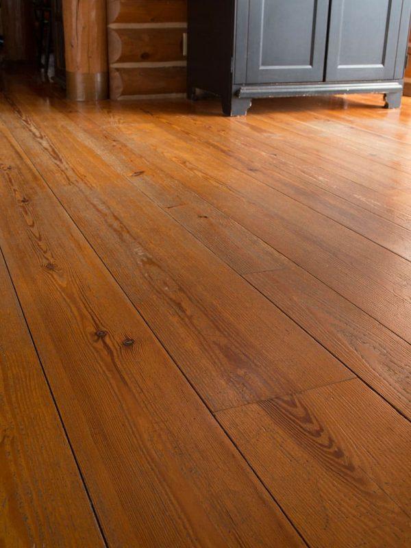 heart pine wide plank flooring closeup
