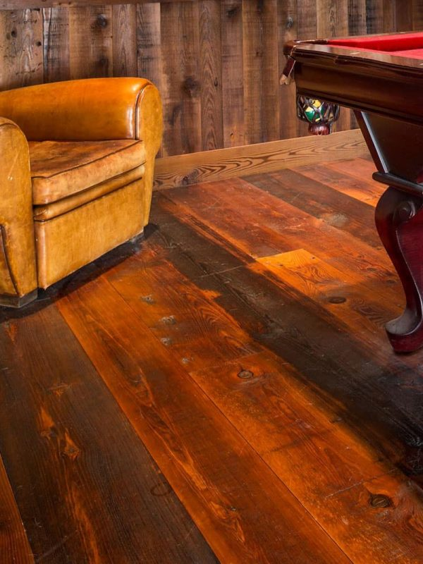 close up of reclaimed heart pine in pool room