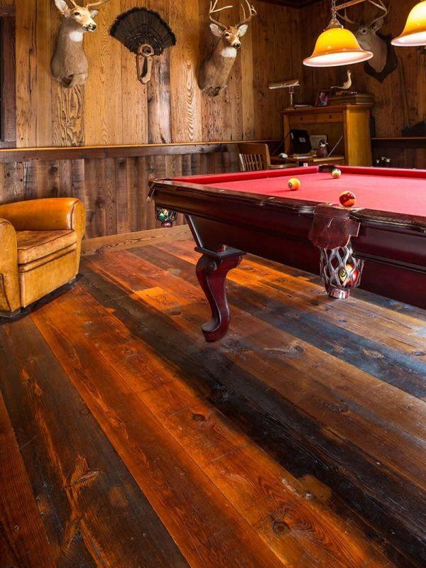 reclaimed heart pine flooring in pool hall
