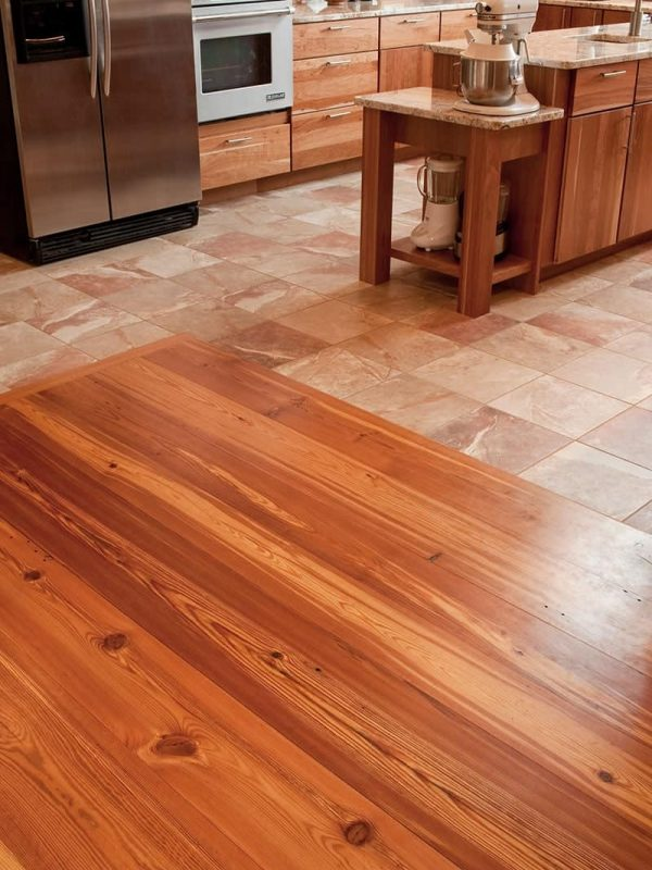 reclaimed heart pine in kitchen