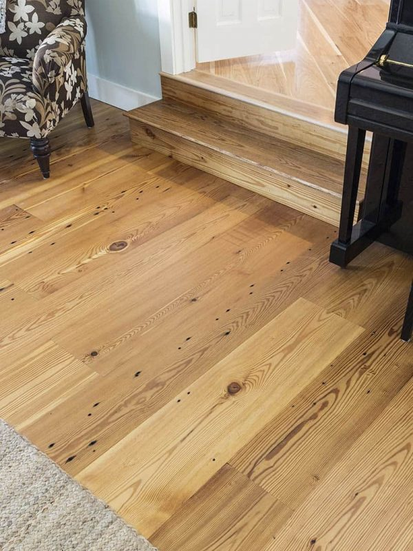 reclaimed heart pine with steps