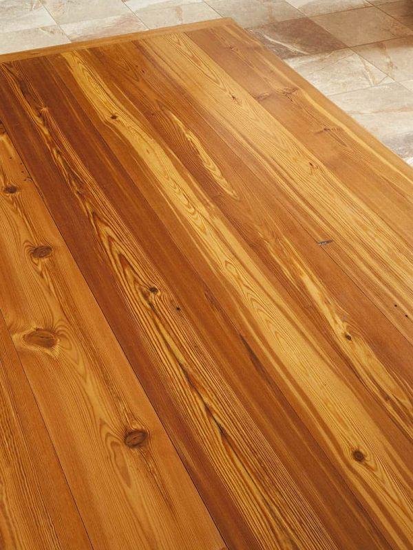 reclaimed heart pine in kitchen