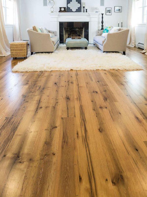 reclaimed wide plank oak flooring in living room