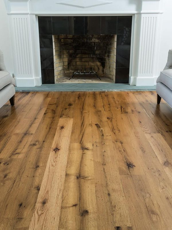 Reclaimed wide plank oak with fireplace