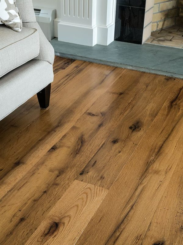 Reclaimed oak wide floor closeup