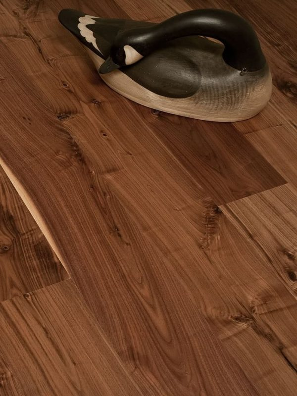 walnut wide plank flooring closeup with duck