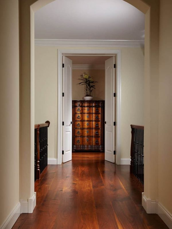 beautiful hallway with rich walnut wide plank floors