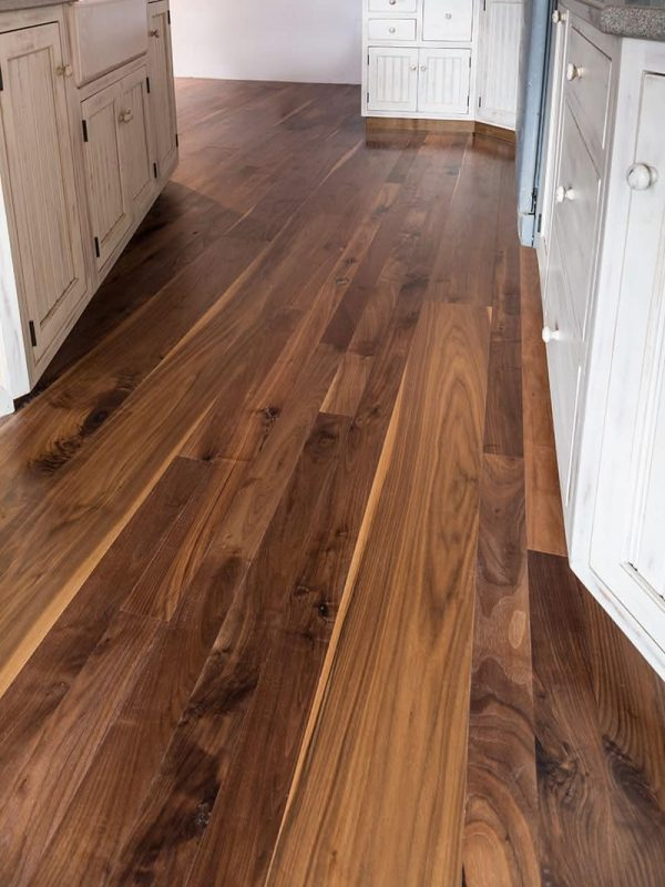 walnut flooring used in kitchen