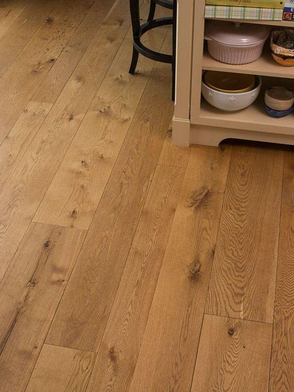 white oak wide plank floor in dining room