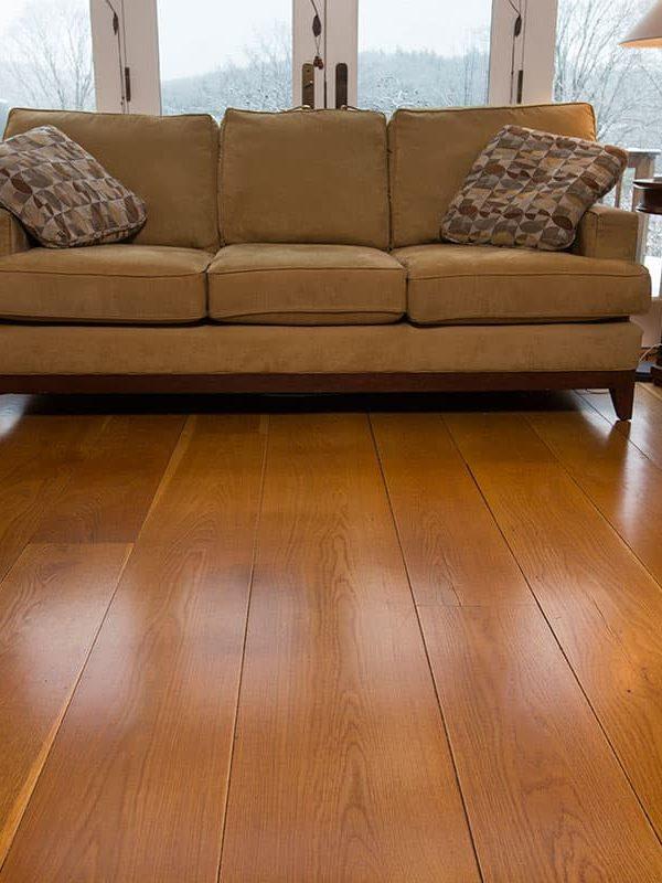 white oak wide plank flooring in living room
