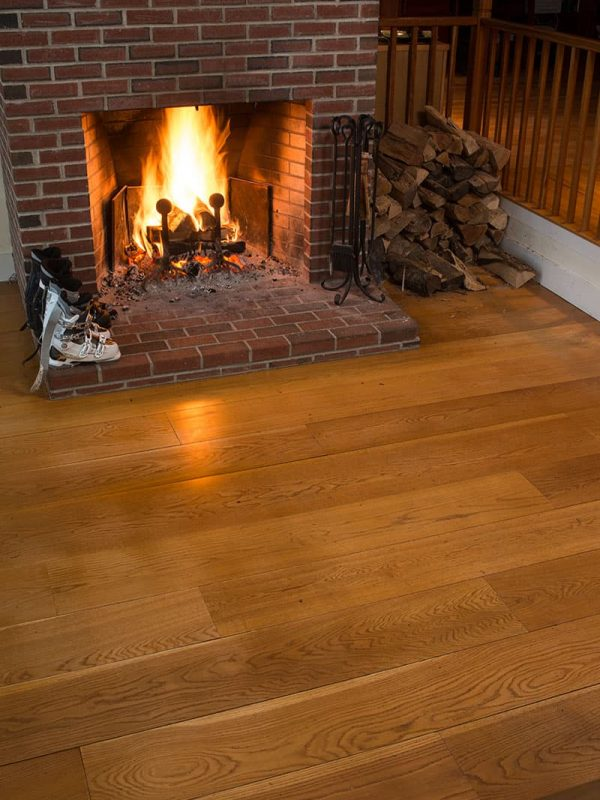 white oak wide plank floor with fireplace