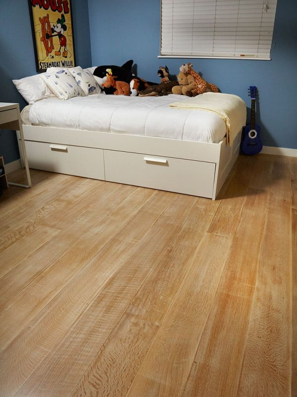 white oak wide plank flooring in child's bedroom