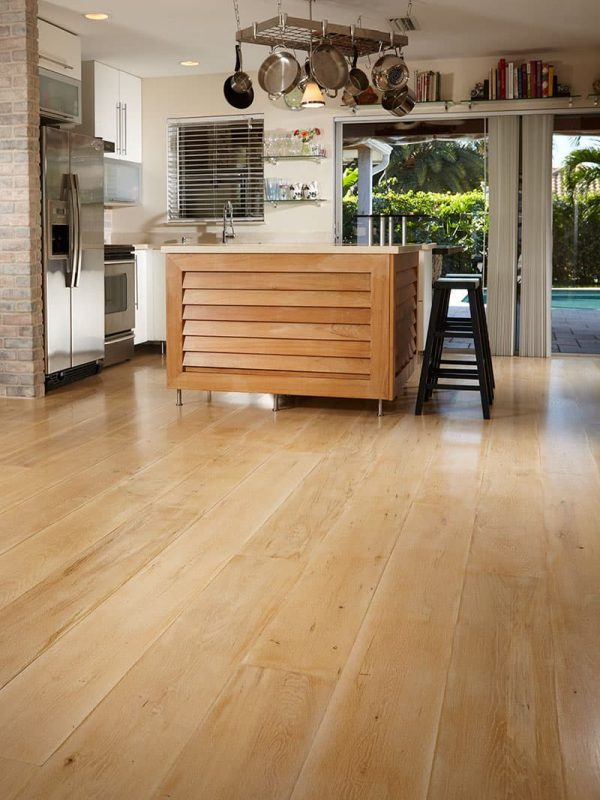 wide plank flooring white oak in kitchen prep area