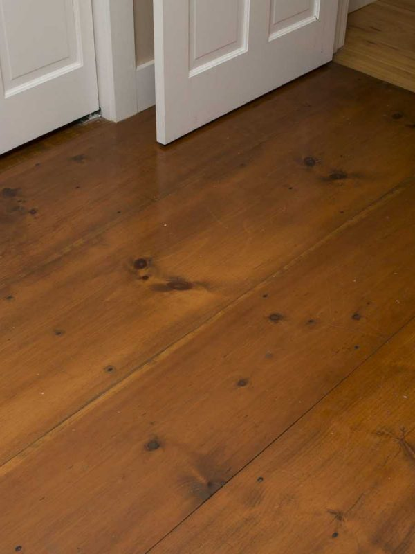 Wide plank flooring closeup